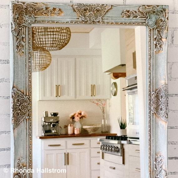 Wall Wood Framed Bathroom Mirror Vanity Mirror French Country Etsy
