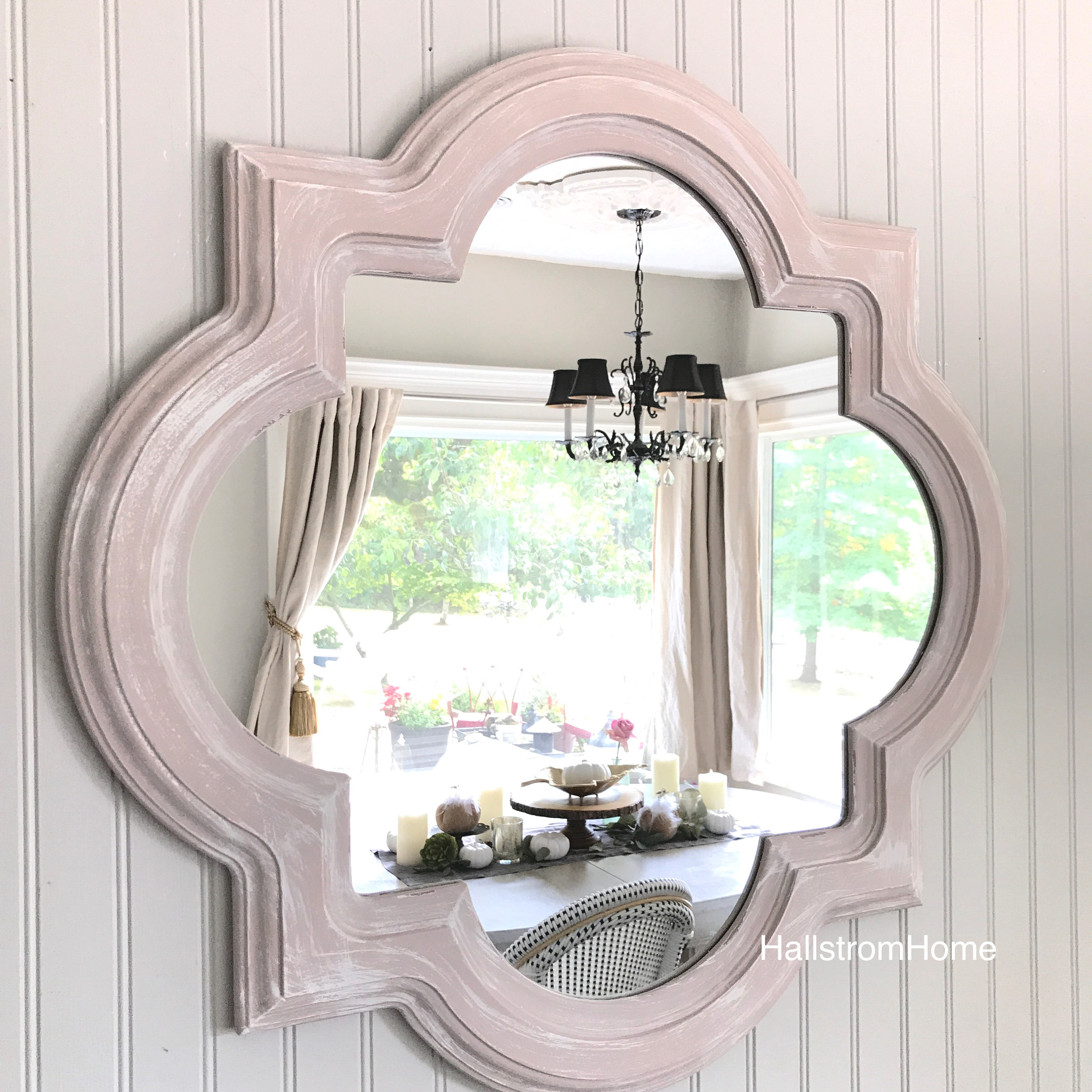 shabby chic scalloped mirror bathroom mirror pink and 20338