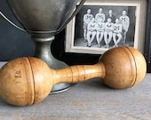 Vinage Wooden Dumbbell Vintage Sports Equipment Vintage Hand Weight Rustic Home Decor Sporting Goods Decor Man Cave Decor
