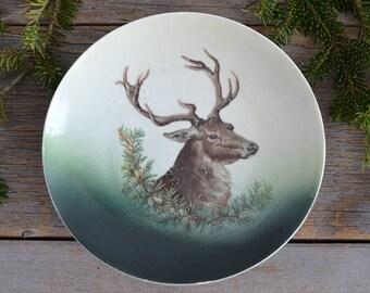 Vintage Deer Plate | Orla Germany Vintage Stoneware Plate | Cabin Lodge Decor