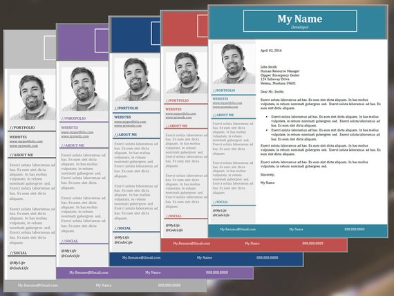The Developer Resume Template Package, Cover Letter, Reference Sheet, and  Thank You Letter in Five Colors