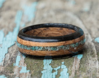 Whiskey Barrel and Ebony Ring with Amazonite Inlay