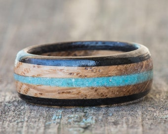Whiskey Barrel and Ebony Ring with Turquoise Inlay