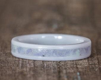 Tanzanite Inlay White Ceramic Stacking Ring