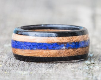 Whiskey Barrel and Ebony Ring with Lapis Lazuli Inlay