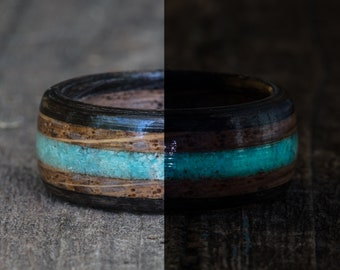 Whiskey Barrel and Ebony Ring with Turquoise and Turquoise Glow in the Dark Powder Inlay