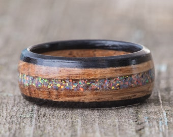 Whiskey Barrel and Ebony Ring with Moonstone Opal Inlay