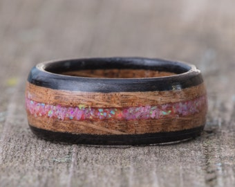 Whiskey Barrel and Ebony Ring with Bubblegum Opal Inlay