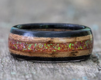 Whiskey Barrel and Ebony Ring with Tangerine Opal Inlay