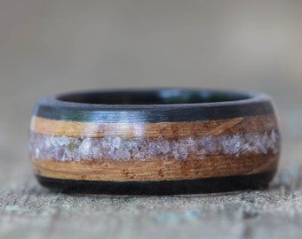 Whiskey Barrel and Ebony Ring with Tanzanite Inlay