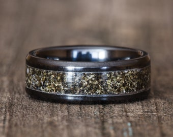Your Sand Inlay Black Ceramic Ring