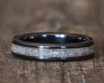 Your Sand Inlay Black Ceramic Stacking Ring