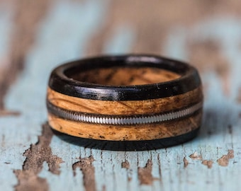Tennessee Whiskey Barrel and Ebony Ring with Guitar String Inlay