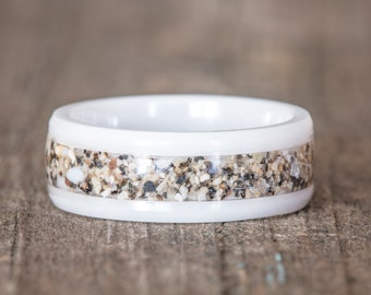 Your Sand Inlay White Ceramic Ring