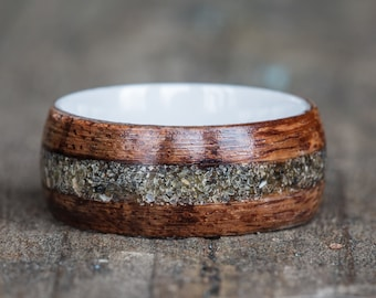 Hawaiian Koa Wood, Ceramic, and Your Sand Inlay Ring