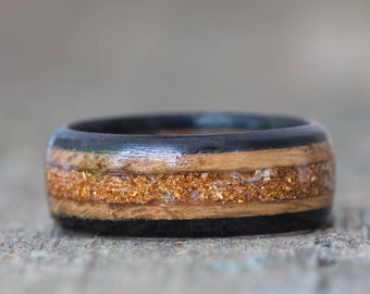 Whiskey Barrel and Ebony Ring with Golden Orange German Glass Glitter Inlay