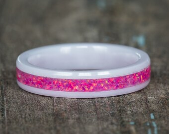 Pink Opal White Ceramic Stacking Ring