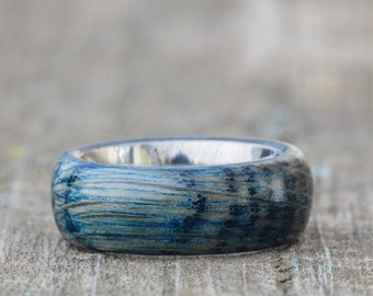 Blue Tennessee Whiskey Barrel and Titanium Ring