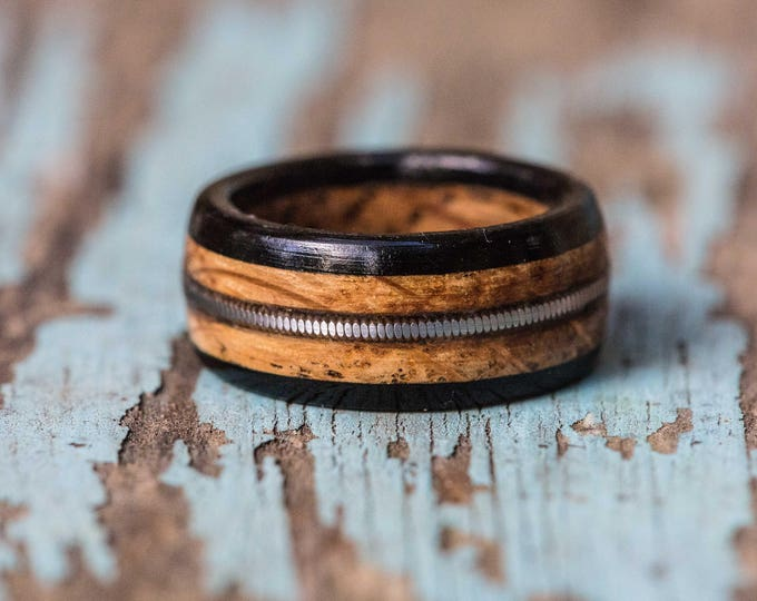 Featured listing image: Tennessee Whiskey Barrel and Ebony Ring with Guitar String Inlay