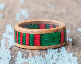 Red and Green Tennessee Whiskey Barrel Ring - Wood Ring Christmas Ring Mens Wedding Band Engagement Ring Womens Xmas Ring Wooden Anniversary