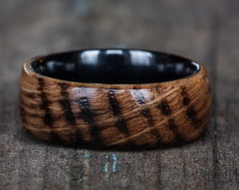 Whiskey Barrel and Black Ceramic Ring