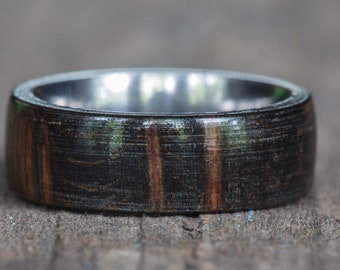 Black Dyed Redwood Burl Ring with Titanium Liner