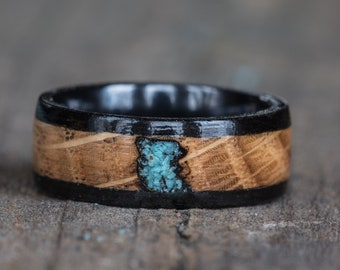 Whiskey Barrel, Ebony, Turquoise, and Black Ceramic Ring