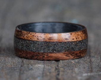 Hawaiian Koa, Carbon Fiber, and Your Sand Inlay Ring