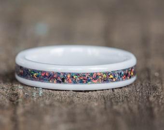 Black Orange Opal White Ceramic Stacking Ring