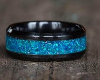 Blue Opal Black Ceramic Ring