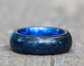 Blue Tennessee Whiskey Barrel and Blue Anodized Titanium Ring