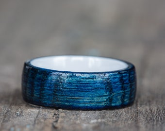 Blue Tennessee Whiskey Barrel and White Ceramic Ring