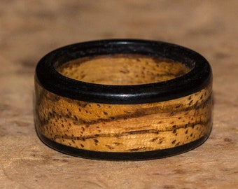 Zebrawood and Ebony Wood Ring