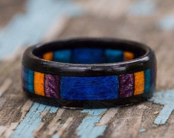 Blue, Orange, Purple, and Ebony Wood Ring