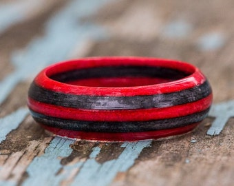 Red and Gray Wood Ring