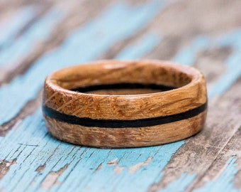 Bourbon Barrel Ring with Ebony Inlay