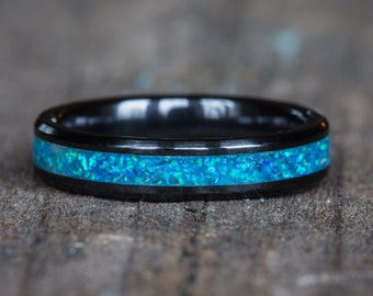 Blue Opal Black Ceramic Stacking Ring