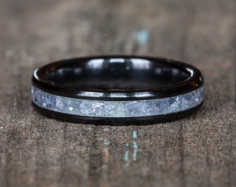 Tanzanite Black Ceramic Stacking Ring