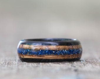 Whiskey Barrel and Ebony Ring with Blue German Glass Glitter Inlay