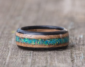 Whiskey Barrel and Ebony Ring with Dragon's Egg Opal Inlay