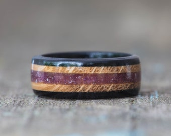 Whiskey Barrel and Ebony Ring with Purple Fluorite Inlay