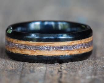 Tanzanite Whiskey Barrel and Black Ceramic Ring