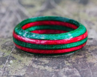 Red and Green Wood Ring