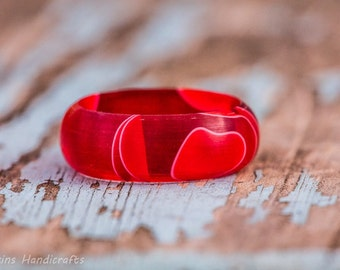 Red and White Acrylic Ring