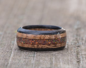 Whiskey Barrel and Ebony Ring with Dark Matter Opal Inlay