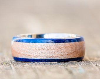 Kentucky Basketball Floor Wood and Titanium Ring