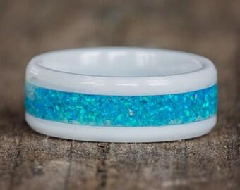 Blue Opal White Ceramic Ring