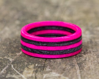 Pink and Gray Wood Ring