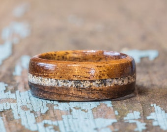 Hawaiian Koa Wood Ring With Your Sand Inlay