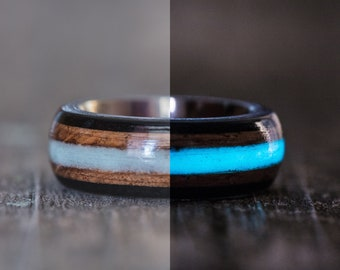 Tennessee Whiskey Barrel, Ebony, and Titanium Ring with Blue Glow in the Dark Inlay